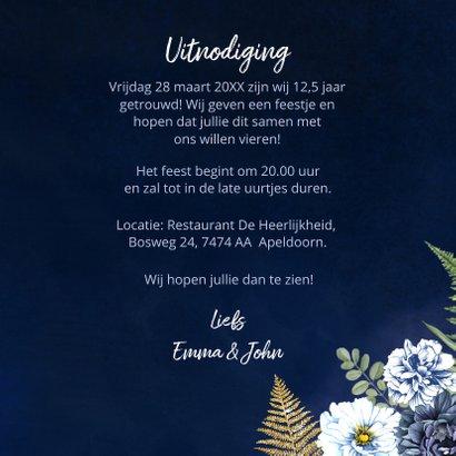 Huwelijksjubileum blauwe pioen goud 3