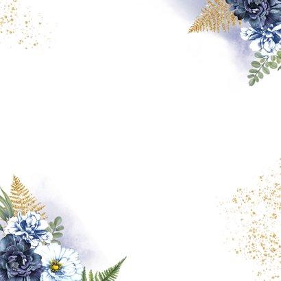 Huwelijksjubileum blauwe rozen Achterkant