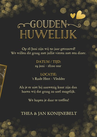 Huwelijksjubileum uitnodiging gouden huwelijk confetti 3