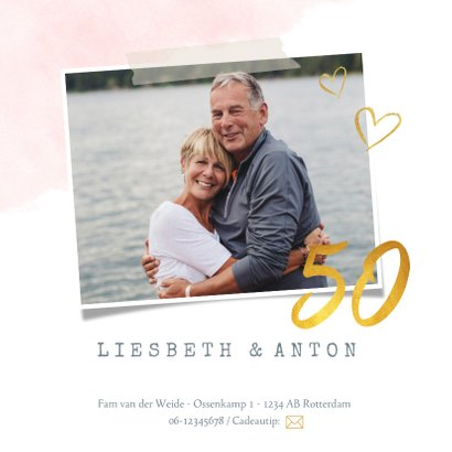 Huwelijksjubileum uitnodiging met fotohart en gouden letters 2