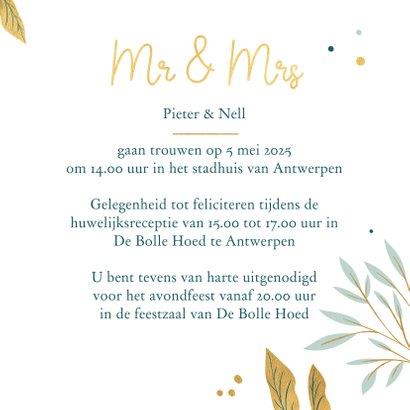 Huwelijksuitnodiging met botanische elementen 3