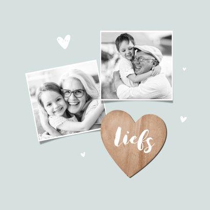 Ik mis je kaartje dikke knuffel houten hartjes en foto's 2