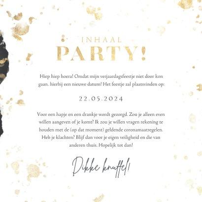 Inhaal party uitnodiging verjaardag goud spetters waterverf 3