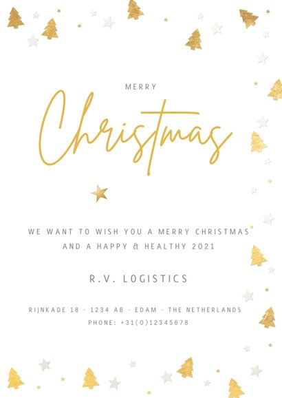 Internationale zakelijke kerstkaart met kerstbomen kader 3
