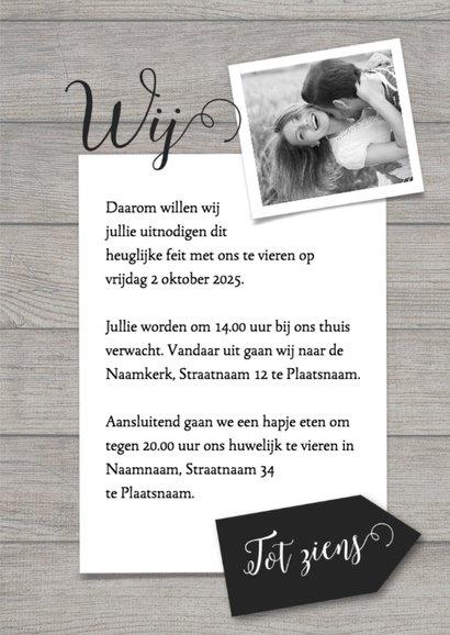 Ja, wij gaan trouwen met foto trouwkaart 3