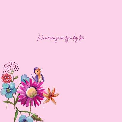 Jarig Bloemen Kado Vrolijk Stip Roze 3