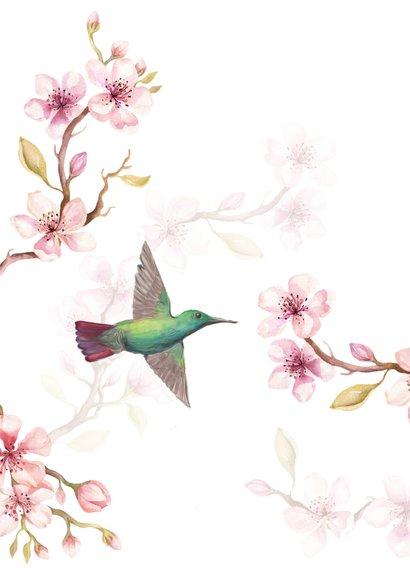 Jarigkaart kersenbloesem met kolibri's 2