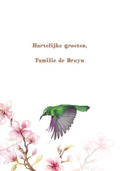 Jarigkaart kersenbloesem met kolibri's 3