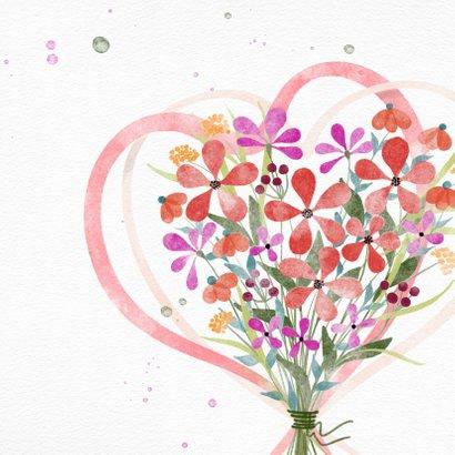 Jarigkaart met boeket bloemen en harten 2