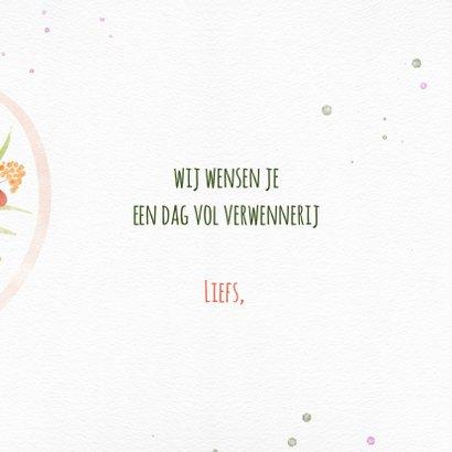 Jarigkaart met boeket bloemen en harten 3