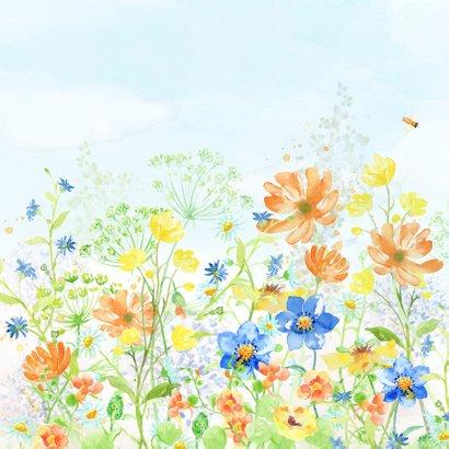 Jarigkaart met vrolijk gekleurde bloemen 2