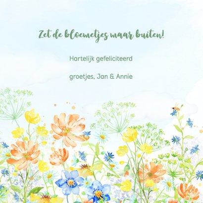 Jarigkaart met vrolijk gekleurde bloemen 3