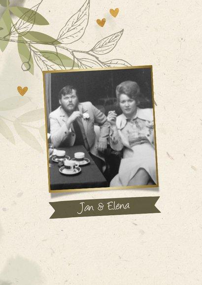 Jubiläumskarte mit Foto, Zweigen und Herzen 2