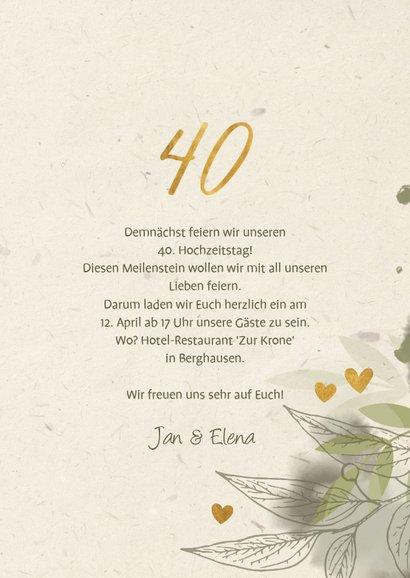Jubiläumskarte mit Foto, Zweigen und Herzen 3