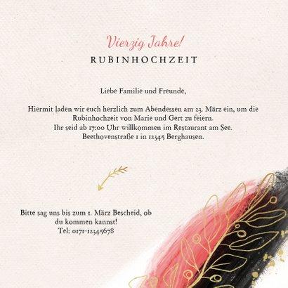 Jubiläumskarte Rubinhochzeit Farbstreifen und Zweige 3