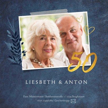 Jubiläumskarte zum 50. Hochzeitstag mit Fotos und Herzen 2