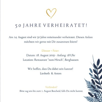 Jubiläumskarte zum 50. Hochzeitstag mit Fotos und Herzen 3