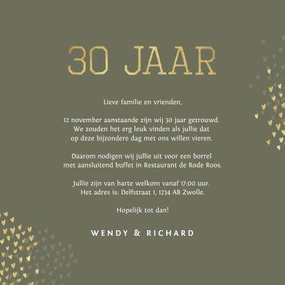 Jubileum 30 jaar uitnodiging goud hartjes 3