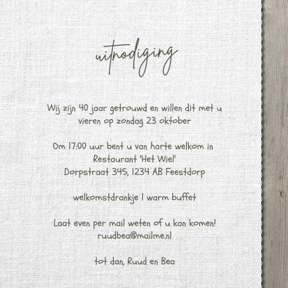 Jubileum 40 jaar getrouwd uitnodiging hout linnen 3