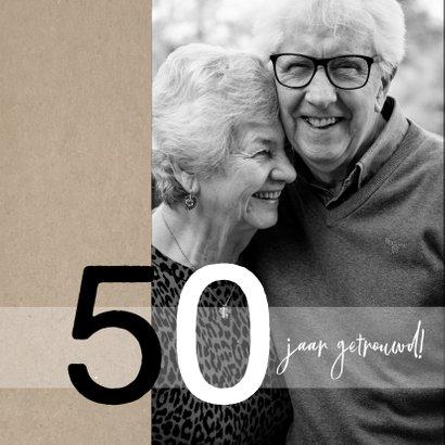 Jubileum 50 jaar getrouwd, zwart met craft papier look 2