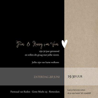 Jubileum 50 jaar getrouwd, zwart met craft papier look 3