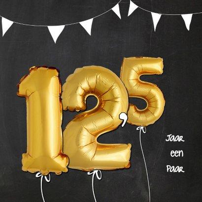 Uitnodiging jubileum ballonnen goud 12,5 2