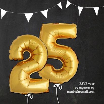 Uitnodiging jubileum ballonnen goud 25 2