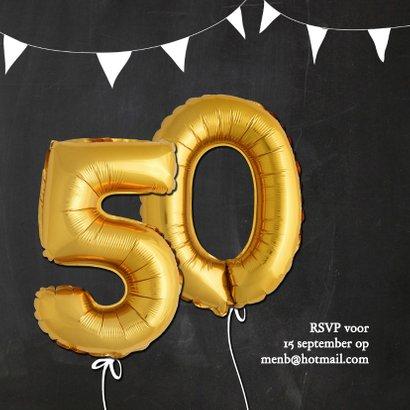 Uitnodiging jubileum ballonnen goud 50 jaar krijtbord 2