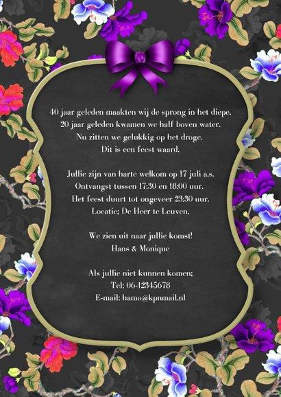 Jubileum feest bord en bloemen 3