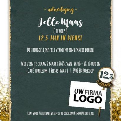Jubileum medewerker glitter goud vierkant met logo 3