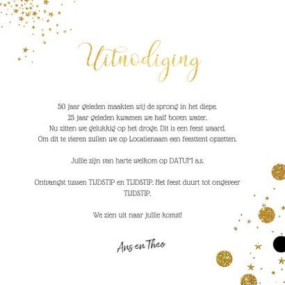 Jubileum stijlvolle kaart grijs met goud 50 jaar getrouwd 3