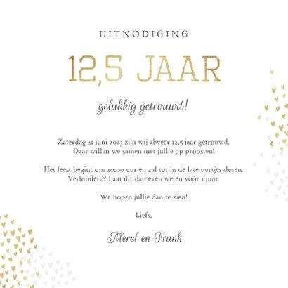 Jubileum uitnodiging 12,5 jaar goud hartjes stijlvol 3
