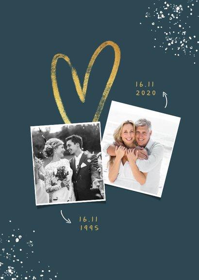 Jubileum uitnodiging 25 jaar getrouwd hartje foto spetters 2
