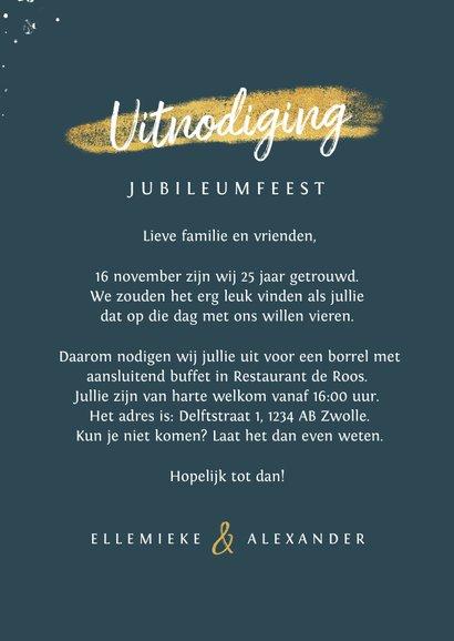 Jubileum uitnodiging 25 jaar getrouwd hartje foto spetters 3