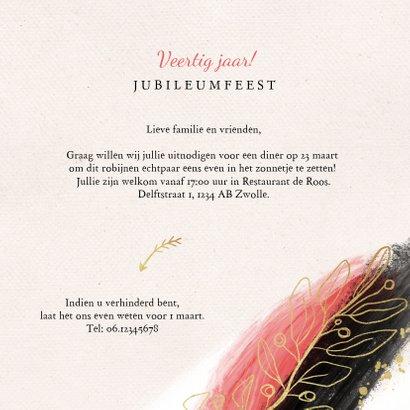 Jubileum uitnodiging 40 jaar robijn goud stijlvol verf 3
