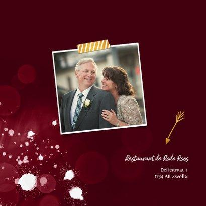 Jubileum uitnodiging 40 jaar robijn spetters goud foto 2