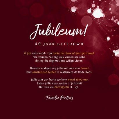 Jubileum uitnodiging 40 jaar robijn spetters goud foto 3