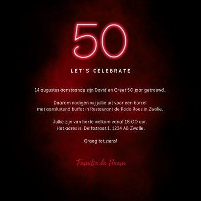 Jubileum uitnodiging 50 jaar bloemen en neon 3