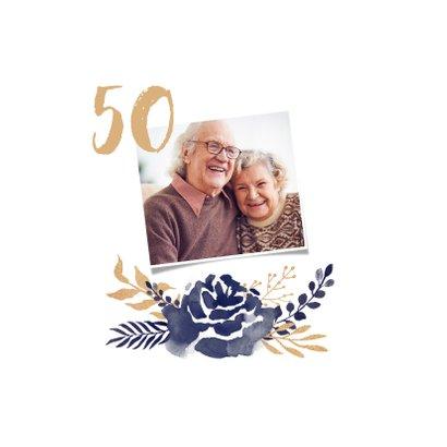 Jubileum uitnodiging 50 jaar bloemen waterverf foto's 2