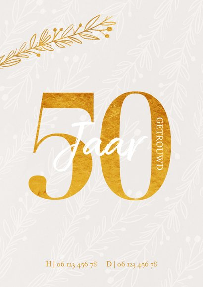 Jubileum uitnodiging 50 jaar getrouwd goudlook 2