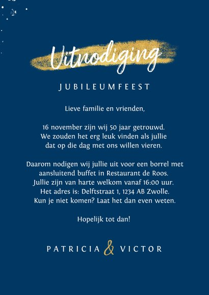 Jubileum uitnodiging 50 jaar goud hart foto's spetters 3