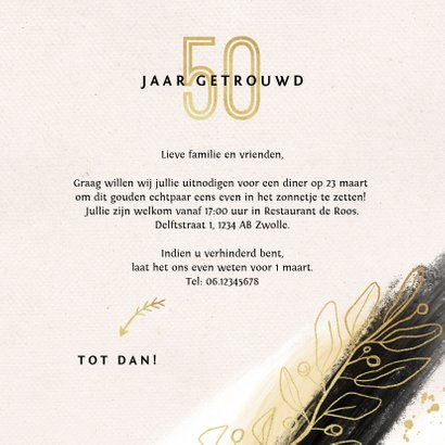 Jubileum uitnodiging 50 jaar goud verf stijlvol 3