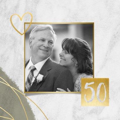 Jubileum uitnodiging 50 jaar met marmer, verf en foto's 2