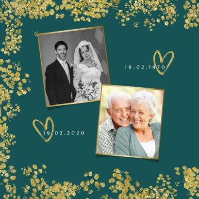 Jubileum uitnodiging 50 jaar vijftig goud confetti foto 2