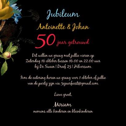 Jubileum uitnodiging  bloemen oude meesters 3