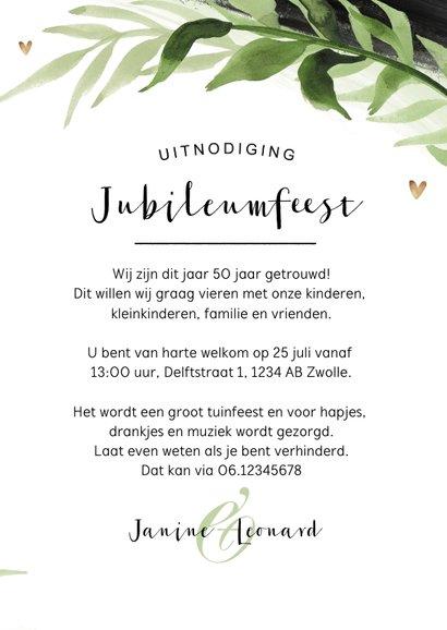 Jubileum uitnodiging botanisch zwart goud verf stijlvol 3