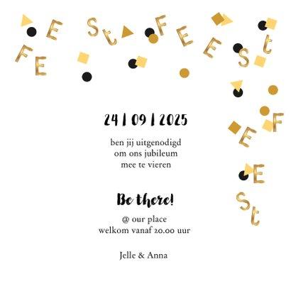 Jubileum uitnodiging confetti letters goud 3