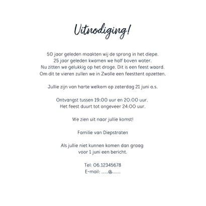 Jubileum uitnodiging feestelijk met fotolijstjes en confetti 3