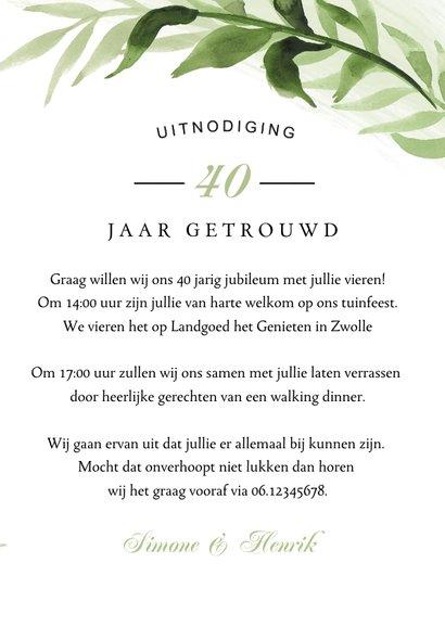 Jubileum uitnodiging klassiek bladeren tuinfeest 3