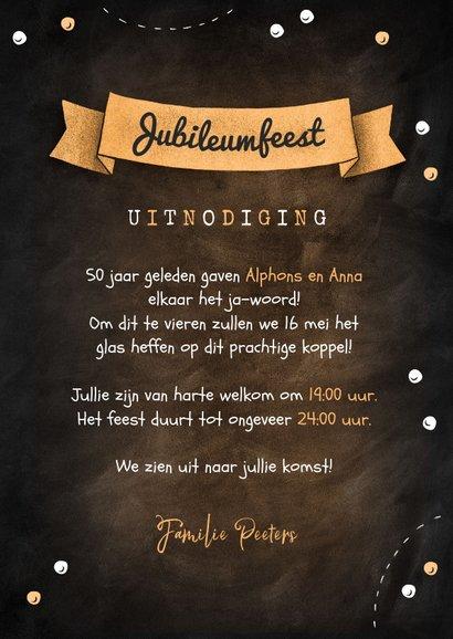 Jubileum uitnodiging krijtbord confetti foto's champagne 3